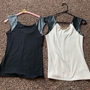 Express leather trimmed tanks